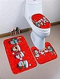 Ansenesna Buon Natale Piedistallo Tappeto + Coperchio WC + Tappetino Da Bagno 3pc/Set (I)