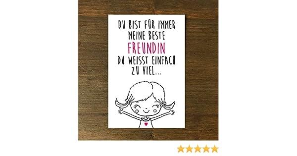 Karte Grusskarte Bff Bestie Geburtstag Beste Freundin Madchen