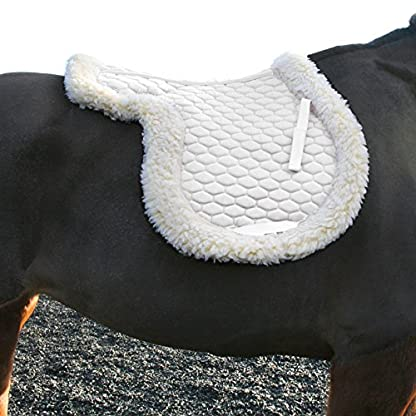 tigerbox White Faux Sheepskin Fleece Lined Soft Quilted Full Pad Numnah - Full 2