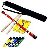 Devilstick Standard Set mit Handstäbe, Trick-Lern Fibel + Schulter-Tasche (Schwarz)