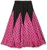 La Señorita Falda Flamenco Sévillane niña rosa con puntos negro (rosa negro, Talla 8 - 6/7 año)