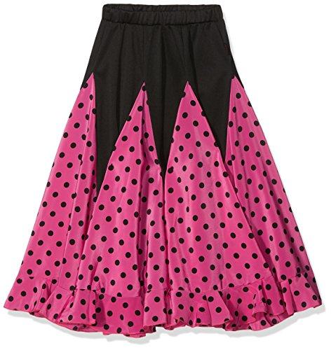 Kostüm Tanzen Elsa - La Señorita Flamenco Rock Kinder Spanische Kleider rosa mit schwarzen Punkten (rosa schwarz, Größe 10, 128-134)