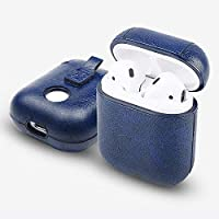 Airpods Case Cover PU Leather Blue - Protective Case Compatible with Apple Airpods 1 Wireless Charging – Metal Keychain Holder Included – Accessories Kits