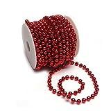 Sepkina Perlenband Christbaumkette Christbaum Perlenkette Perlengirlande Perlenschnur Weihnachten Advent Hochzeit Deko Tischdeko Meterware Rot (S-P10-04-red)