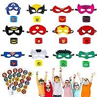 U&X 28 Pcs Superhero Masks, Superhero Slap Bracelet and Superhero Stickers, Superhero Party Bags Fillers for Boys Adults Birthday, Superhero for Kids Party Favors Toys