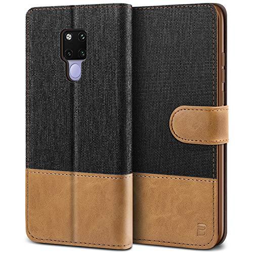 BEZ® Handyhülle für Huawei Mate 20 X Hülle, Tasche Kompatibel für Huawei Mate 20 X, Schutzhüllen aus Klappetui mit Kreditkartenhaltern, Ständer, Magnetverschluss, Schwarz