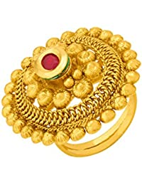 Voylla Traditional Alloy With Yellow Gold Plated Kundan Rings For Women