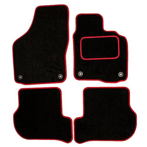 Sakura ww0910rd Alfombras de coche (con los controladores Side Alfombra Pad de tacón, ribete de color rojo para Seat Leon 02–05