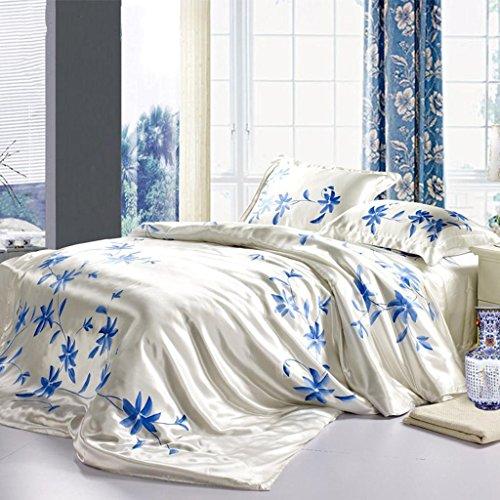 GOUGOUHeimtextilien Seide vier Stücke 100% reine Seide Seide Bettwäsche vier Sätze 1,5m Bett 1,8m Bett , white , 1.5m