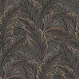 WallQuest Brine Baum Blatt Muster Tapete Modern Metallische Glitzern Motiv - Schokolade Rotgold UK10048