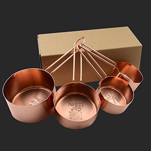 4 vasos medidores con caja, oro rosa, acero inoxidable, espejo pulido, cuchara medidora, herramienta de cocina para el hogar Tamaño libre oro rosa