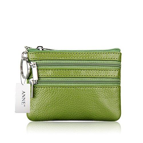 ANNE Portafoglio squisito della borsa della moneta in pelle per le donne Green