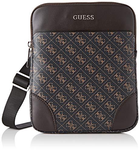 Guess - Manhattan Logo, Shoppers y bolsos de hombro Hombre, Marrón Brown, 2x23x19 cm W x H L