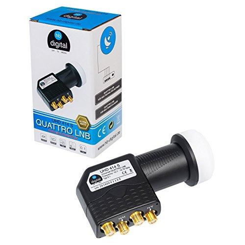 HB-DIGITAL Quattro LNB LNC für Multischalter für Multiswitch ✨ Full HD TV 3D 4K Schwarz Black ■ Kontakte vergoldet ■ Wetterschutz (ausziehbar)