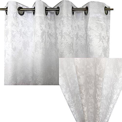 Ösenschal Blickdicht von JEMIDI Abdunkelnd Vorhang Ösengardine 140cm x 245cm Ösen Schal Gardine Fenster Dekoschal Weiß