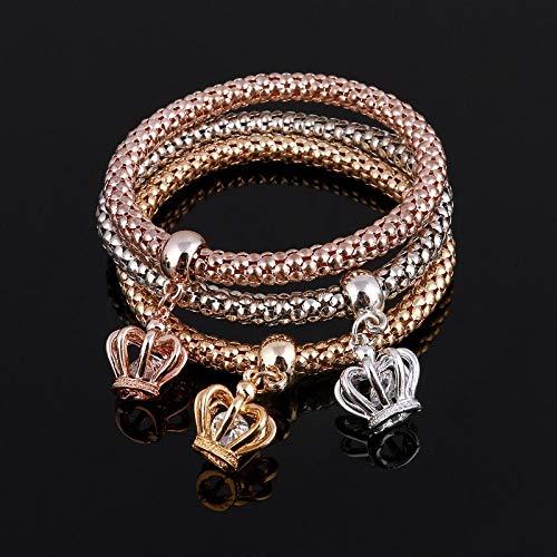 MNJLB Frauen Armbänder Set Kristall Armreifen Gold Charme Armbandtsfor Männer Modeschmuck Multilayer Bangles Laterne Form 3 Stücke