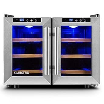 Klarstein Reserva Saloon • cave à vin • réfrigérateur à boissons • 40 litres • 12 bouteilles • 3 étagères en bois • éclairage à LED • autonome • très silencieux • 8 à 18 ° C • 2 portes en inox • noir