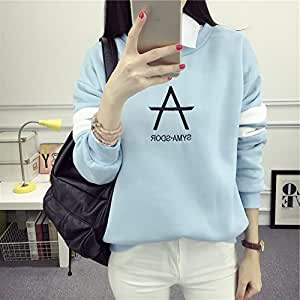 Autumn Women 'S Clothing Printed Letter Long Sleeve Hoodies Sweatshirts,Light blue,XL