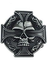 Patch Nation Tête de Mort et Croix Celtique Noir Cosplay Boucle de Ceinture  Belt Buckle 04305ecb747