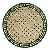 Mediterraner Gartentisch marokkanischer Mosaiktisch Ø 90 cm rund grün terrakotta mit Gestell H 73 cm  Kunsthandwerk aus Marrakesch | Dekorativer Balkontisch Bistrotisch Beistelltisch  MT2105
