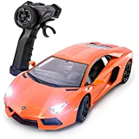 Price comparsion for Lamborghini Aventador Official Licensed Remote Control Car for Kids with Working Lights - Electric Radio Controlled On Road RC 1:14 Model Toy Vehicle PL9417 RTR, EP Black, Orange