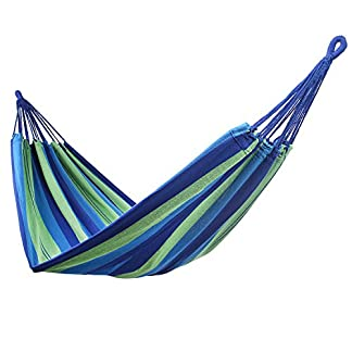 DecoKing 43271 Hamaca Outdoor Indoor 210 x 150 cm Silla Suspendida Hammock Carga hasta 300 kg Bolsa Algodón Verde Azul Azul Oscuro Green Blue Navy Colorful