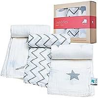 Mantas de muselina, 100 % algodón orgánico, ideal para Baby Shower, pequeñas y suaves, aptas para niños y niñas, 3 unidades, color blanco