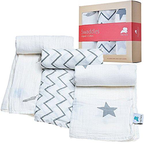 Muselina mantas | 100% algodón orgánico | ideal para Baby Shower regalo | pequeño Cozy | apto para niños y niñas | unidades 3| blanco Swaddle Manta infantil | mejor para recién nacidos