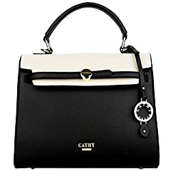 Cathy London Womens Handbag, Material- Synthetic Leather, Colour- Beige/Black