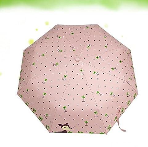 Sucastle Cartoon, deer, vinyl, folding, sunny rain, umbrella, triple fold, sunscreen, shade, umbrella, automatic, creative, umbrella Sucastle:Colour:Pink:size:Solitary; 116cm: diameter;