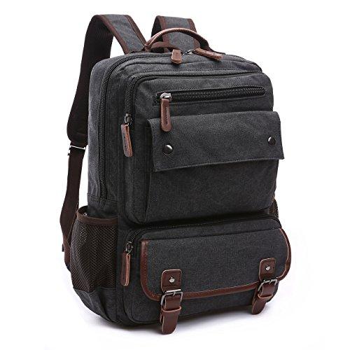 BAOSHA BP-28 Vintage Canvas Rucksack Damen Herren Notebook Laptop Rucksäcke Retro Schulrucksack Backpack Daypack für Uni, Wandern, Outdoor Sport, freizeit, Einkaufen mit der großen Kapazität Schwarz