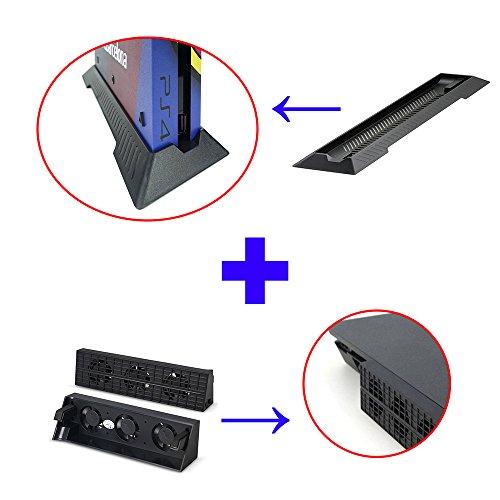 QUMOX Super esterno Ventola - Turbo dispositivo di raffreddamento nero & basamento del corredo del supporto di base per Sony Playstation 4 SlimPS4Slim