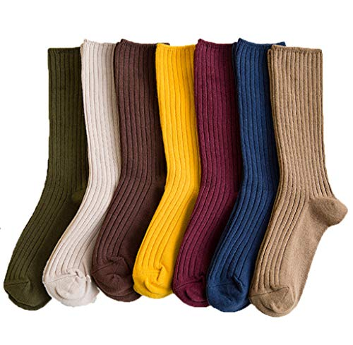 DOKER 10 Pairs Womens Casual Comfort Cotton Crew Socks Solid Color