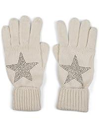 styleBREAKER warme Handschuhe mit Strass Nieten Stern Applikation und doppeltem Bund, Strickhandschuhe, Damen 09010008