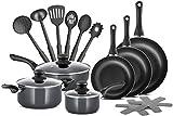 Juego de ollas y sartenes antiadherentes de 15 piezas de aluminio de grado profesional Chefs Star, set de utensilios de cocina