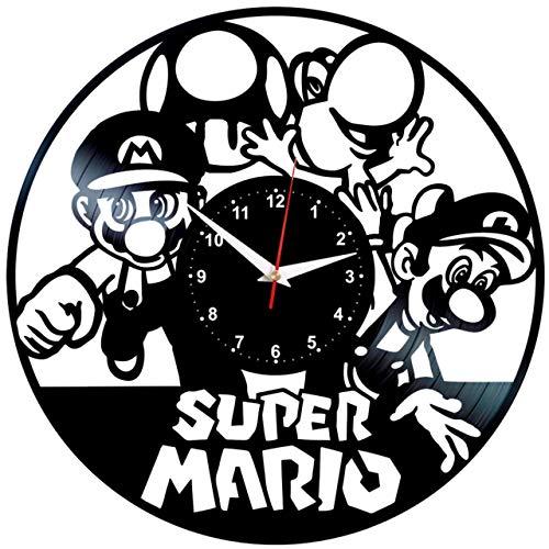EVEVO Super Mario Wanduhr Vinyl Schallplatte Retro-Uhr groß Uhren Style Raum Home Dekorationen Tolles Geschenk Wanduhr Super Mario