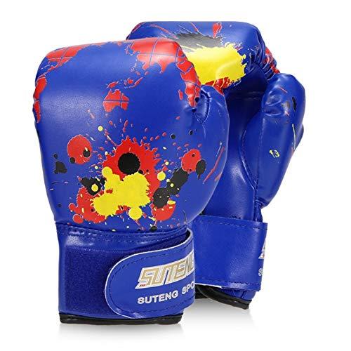 ERHUAN Jungen/Mädchen Boxhandschuhe Leder Boxtraining Schutzhandschuhe Für Kinder Kampf Boxhandschuhe Sicherheitsausrüstungen,Blau,