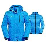 Wantdo Chaqueta 3-en-1 para Mujeres de Esquí Impermeable de Invierno Azul XX-Large