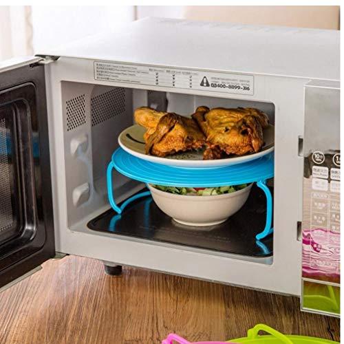 Gamloious Kühlschrank Mikrowelle Regal doppelt isoliert Heizung Tray Rack-Schüsseln Layered Halter-Küche-Teller-Organisator-Speicher-Rack-grün