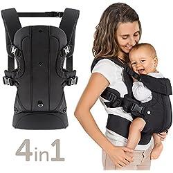 Porte bébé ergonomique / Multiposition 4 en 1 - ventral, dorsal, vue variable / évolutif, réglable - Pour nouveau-né et petit enfant (3,5 à 15 kg)
