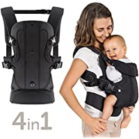 Fillikid 4 Position Baby Carrier - Ergonomic Infant Carrier Front and Back - Newborn to Toddler 7.7lb-33lb - Black