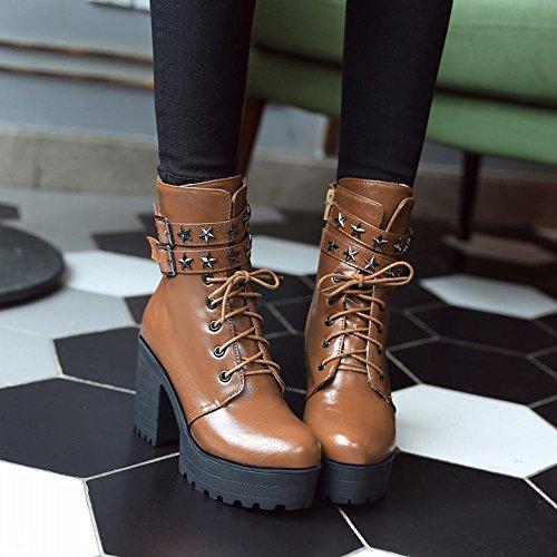Mee Shoes Damen chunky heels mit Schnürsenkel Reißverschluss Stiefel Braun