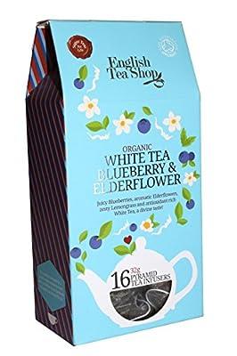 Thé noir Thé blanc Thé à la myrtille et aux fleurs de sureau - 2 x 16 pyramide de soie (64 grammes)
