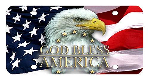 BNHF L156 American Flag Eagle License Plate Front Custom Novelty Tag Vanity Frame Holder Wrap Wraps - American Flag License Plate