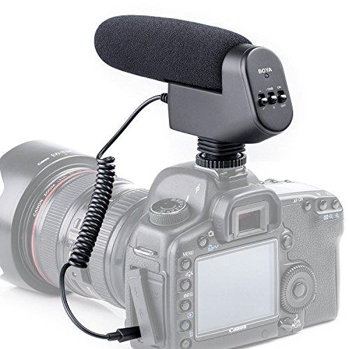 New Boya by by-vm600 Niere gerichtete 3,5 mm Kondensator Shotgun Videoleuchte Mikrofon Interview Mikrofon für Canon Nikon Sony Pentax DSLR-Kamera (Schaumstoff und Fell Windschutzscheibe, im Lieferumfang enthalten) (Shotgun Mic Canon)