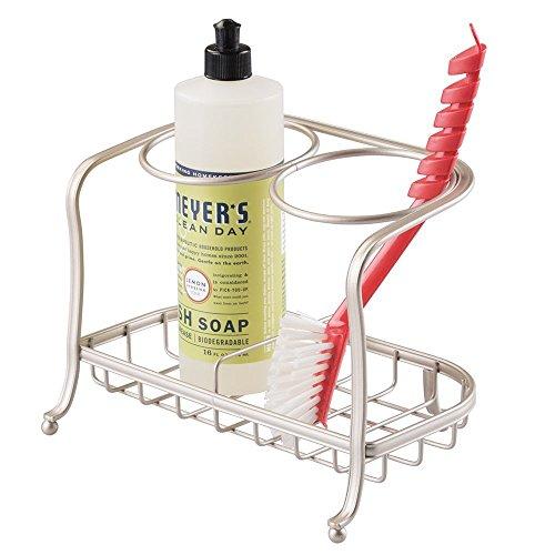 mDesign Soap Dispenser or Bottle Holder and Sponge Brush Caddy for Kitchen Sinks, Countertops - Satin