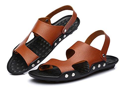 insun hommes de mode bracelet en cuir Sandales Marron - marron