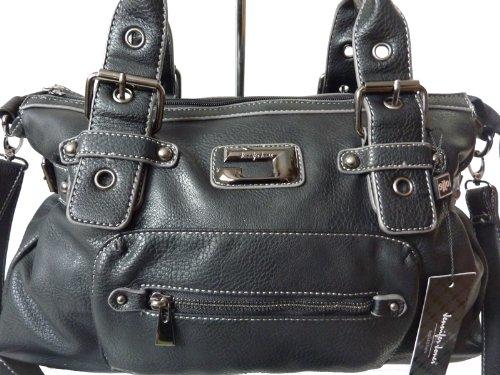3957classica borsa da donna, tinta unita, manico borsa 43x 25x 14, nero (nero) - 3957 nero