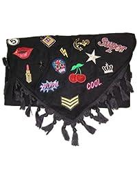 XXL Dreiecktuch Schal Tuch mit Patches Glitzer Patch Stern Fransen Schal Halstuch Oversized