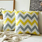 MIULEE Pack of 2 Geometric Suedette Cushion Covers Decorative Square Throw Pillow Case Luxury Pillowcases for Couch Livingroom Sofa Bed with Invisible Zipper 45cm x 45cm,18x18 Inches Yellow Grey